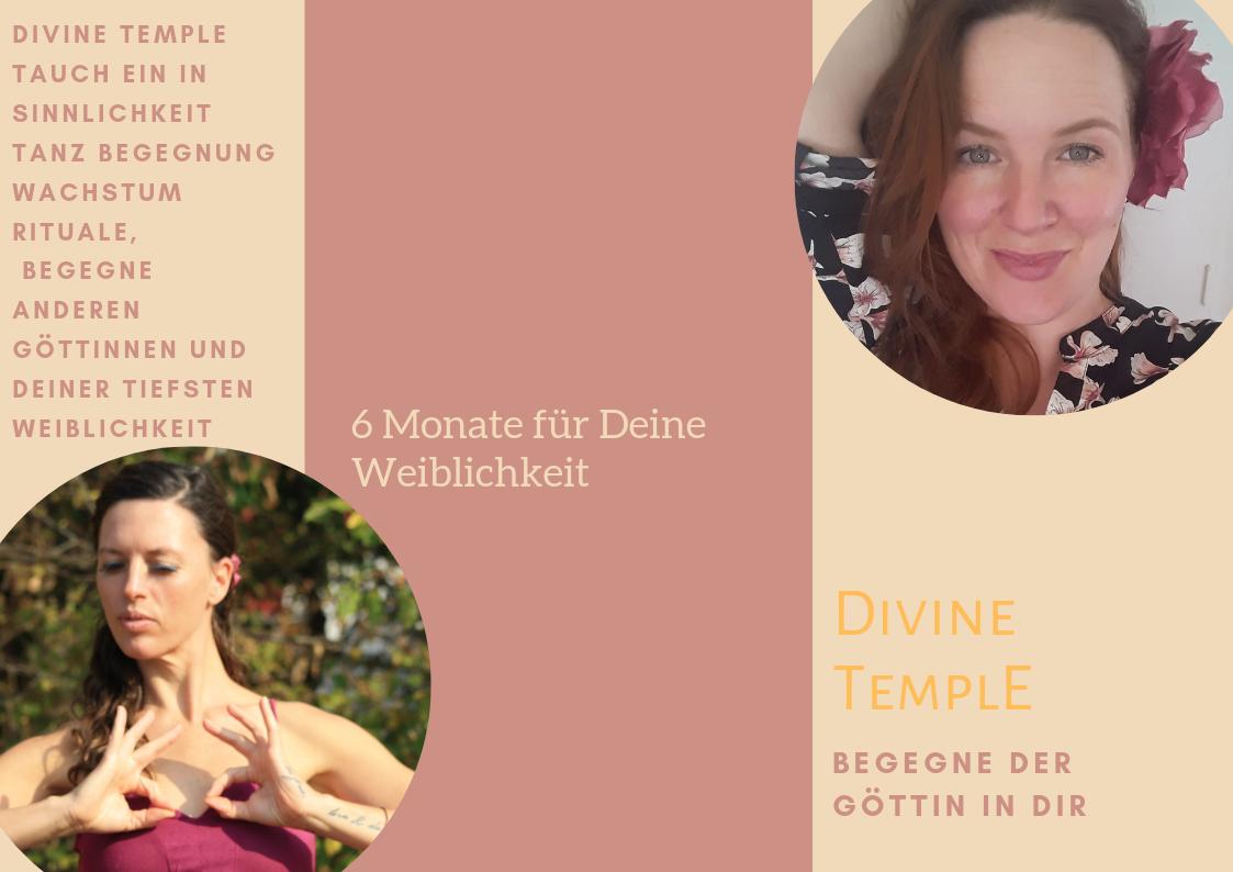 flyer mit den wichtigsten Daten zum divine temple mit Fotos der Veranstalterinnen